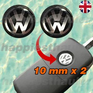 2 x 10mm 3D Epoxy Gel Resin Black VW Key Fob Remote Logo Badge Sticker