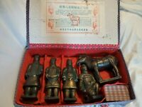 Asian Chinese Warriors Vintage Terracotta Of Qin Dynasty Figurine Set With Box