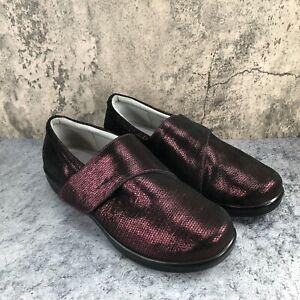 Alegria Lauren Women's Burgundy Metallic Leather Clogs Shoes Sz 41W US 10.5-11 W