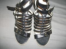 boohoo  black gladiator sandals  size 4 new in box