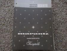 New listing Marantz 6050 6110 Stereo Turntable Phono Original Service Repair Manual