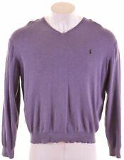 POLO RALPH LAUREN Mens V-Neck Jumper Sweater XL Purple Cotton  NS30