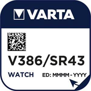 10x V386 Uhrenbatterie Knopfzelle = SR43W SR43 Hersteller  VARTA
