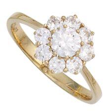 Ring Damenring weiße Zirkonia in Form einer Blume 375 Gold Gelbgold