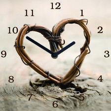 Uhr Wanduhr Glasuhr Glasbild 30X30 beige Weiden Herz Sprüche    : Art. 02