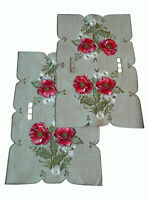 """17"""" x 11"""" Place Mat End SET OF 2 Table Doilies Dresser Scarf Embroidered Poppy"""