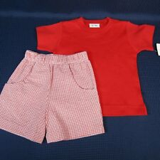 Girls Outfit 2T Le Top Red T-Shirt Top Bailey Boys 3T Red White Checked Pants