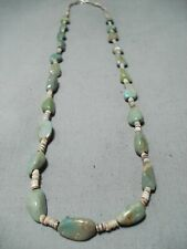 FANTASTIC SANTO DOMINGO ROYSTON TURQUOISE HEISHI STERLING SILVER NECKLACE