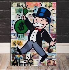 Alec Monopoly Oil Painting on Canvas Graffiti art ,Money Bill Bag 24x32inch