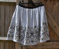 Boden Blue & White Stripe Floral Embroidered Summer Skirt Size 12 R VGC