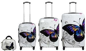 Reise Koffer Reisekoffer Set Hartschalenkoffer Trolley Beautycase Butterfly