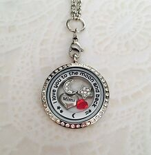 Memory Locket Mimi I Love You To The Moon And Back Necklace Stainless Steel.