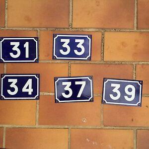 French vintage blue enameled enamel steel metal house street door number girod