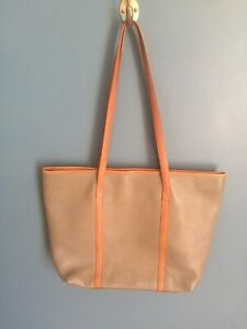TALBOTS Pebble Leather Tote Shopper Bag Neutral Tan