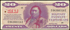 $20 DOLLAR BILL MILITARY PAYMENT CERTIFICATE PAPER MONEY CHIEF INDIAN NOTE