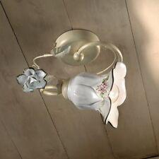 Plafoniera 1 luce in ferro battuto e ceramica coll. pisa FL C1204/1 PL