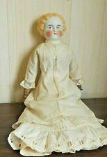 "Antique 17"" Blonde Parian Shoulderhead Doll w/Original Cloth Body, Marked ""6"""