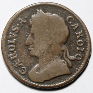 1673 KING CHARLES II GREAT BRITAIN COPPER FARTHING COIN