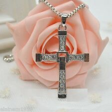 "Fast & Furious Rhinestone Cross Necklace Pendant Vin Diesel Jewellery.24"""