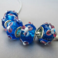 5PCs Wholesale Turquoise Lampwork Glass European Charm Beads With Pink Flowers