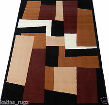 Carpet Geometric Modern Woven 5x8 Area Rug Black Brown Actual Size  5'2 x 7'0