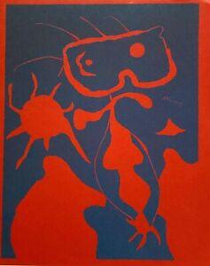 JOAN MIRO + LINOCUT +  FIGURE WITH RED SUN + SIGNED