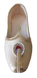 Men Shoes Indian Handmade Punjabi Mojari Wedding Khussa Loafers Flat US 6-10