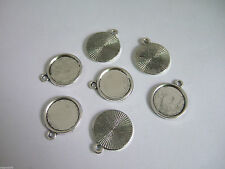 20 x Antique Silver 14mm Round Cameo Cabochon Pendant Setting Tray Blanks Bezel
