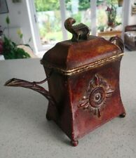 Vintage Tin Square Tea / Coffee Pot Shaped Canister, Caddy - French Rustic Style