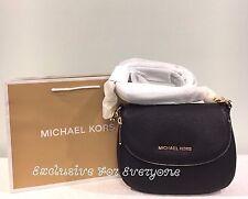 NWT Michael Kors Bedford Black Flap Grossbody Leather Bag $198