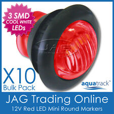 10x 12V 3-SMD LED RED ROUND CLEARANCE/MARKER LAMP PILOT LIGHT-Truck/Trailer/Boat