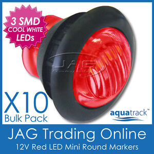 10x 12V 3-SMD LED RED ROUND MARKER/CLEARANCE LAMP PILOT LIGHT-Truck/Trailer/Boat
