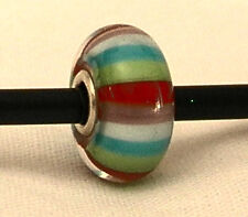 Authentic Trollbead Sterling Silver~Glass~Stripe of Fashion~Trollbeads~Bead~New