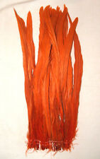 """25 ORANGE Rooster Coque Tail Feathers Dyed  12-14"""""""