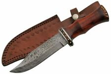 """Damascus Steel Hunting Knife   11"""" Overall Rosewood Handle + Leather Sheath"""