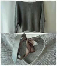 Raspbry size 8-12 jumper grey boat neck boxy bow ribbon knitwear comfy