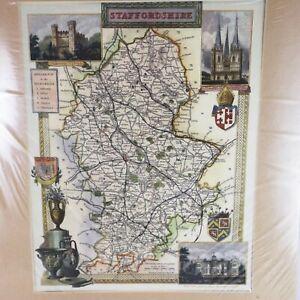 Historical STAFFORDSHIRE Map Ready to be framed