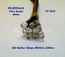 10pcs 5mm LEDS 12 VOLT Pre Wired ~WIDE WHITE~ 12V HEAVY DUTY FLAT TOP LIGHT