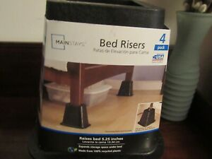 MAINSTAYS Bed Risers College Dorm 4 Pack Black Raises Bed 5.25 inches New