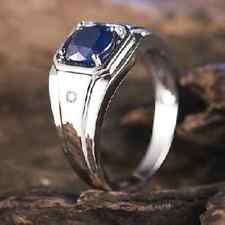 COOL Handmade Jewelry Mens Round Blue Sapphire 925 Silver Band Ring Size 9-11