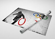 "Banksy - Olympic Rings. Archival Canvas Print 30""x20"""