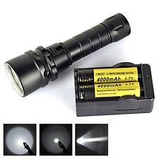 2500Lm XM-L2 LED Flashlight Buceo Linterna antorcha lámpara Luz 2X18650 Cargador