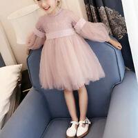 Baby Kids Girls Lace Gauze Tutu Tulle Princess Dress Long Sleeve Party Skirt US
