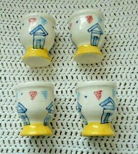 4 X  New Ceramic Egg Cups Beach Hut Design