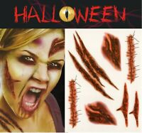 Halloween Zombie Scars Tattoos Fake Stitches Scab Wound FX Face Make Up 15x12cm