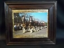 """VINTAGE COLOR BUDWEISER CLYDESDALE 8-HORSE HITCH 9X6 PHOTO IN WOOD FRAME 13X12"""""""