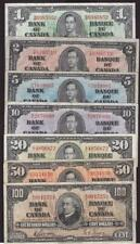 1937 Bank of Canada $1 $2 $5 $10 $20 $50 $100 7-notes Gordon VF25 or better