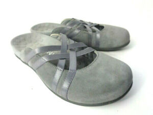 VIONIC Claire US 6M Gray Suede Cloth & Elastic Satin Slip On Casual Mules Shoes