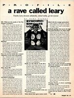 1992 VINTAGE 1PG MAGAZINE ARTICLE/INTERVIEW WITH TIMOTHY LEARY ON RAVES,VR,ROLES