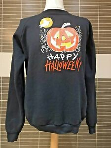 Halloween Sweat Shirt Crew Neck XL Fruit Of The Loom Tag 1992 wittches pumkins